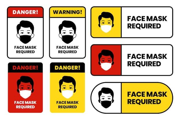 Masque Facial Requis Ensemble De Signes Vecteur gratuit