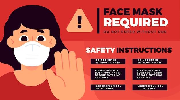 Masque Facial Requis Modèle De Bannière Vecteur gratuit