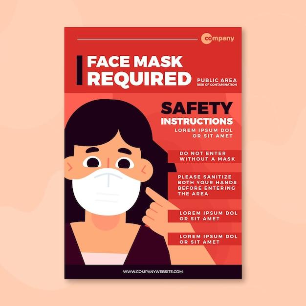 Masque Facial Requis Modèle De Flyer Vecteur Premium