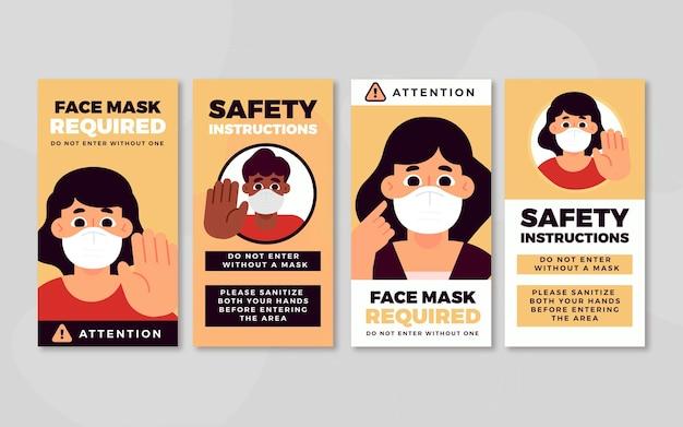 Masque Facial Requis Modèle D'histoires Instagram Vecteur gratuit