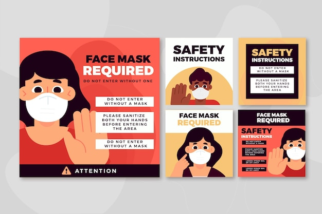 Masque Facial Requis Modèle De Publication Instagram Vecteur Premium