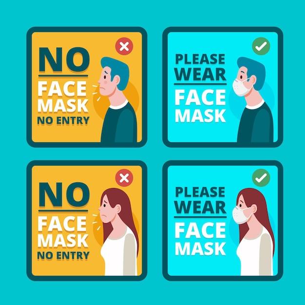 Masque Facial Requis Pack De Signes Vecteur gratuit