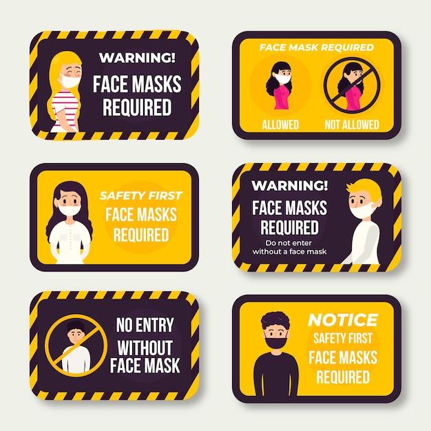 Masque Facial Requis Thème Pack Pack Vecteur gratuit