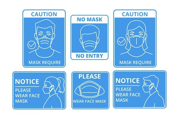 Masque Facial Signes Requis Vecteur Premium