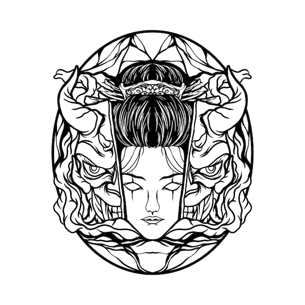 Masque Geisha Et Diable Vecteur Premium