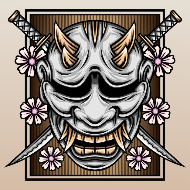Masque Hannya Avec Le Katana De Samouraï. Vecteur Premium
