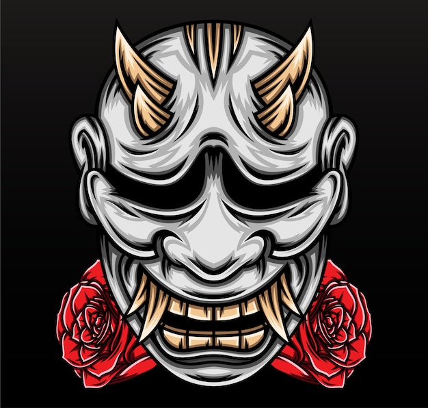 Masque Japonais De Hannya. Vecteur Premium
