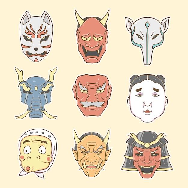 Masque Japonais Set Collection Illustration Premium Vecteur Premium