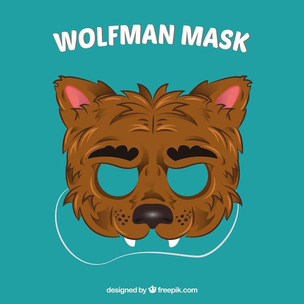 Masque de loup dessiné à la main Vecteur gratuit