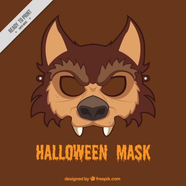 Masque de loup de halloween Vecteur gratuit