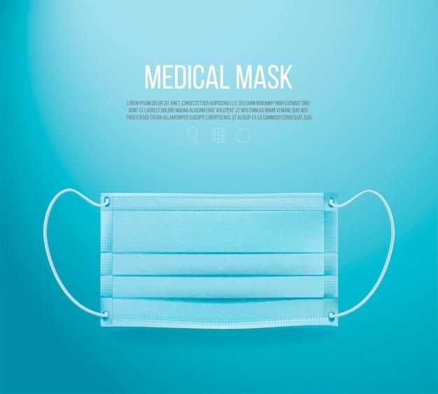 Masque médical sur fond bleu Vecteur Premium