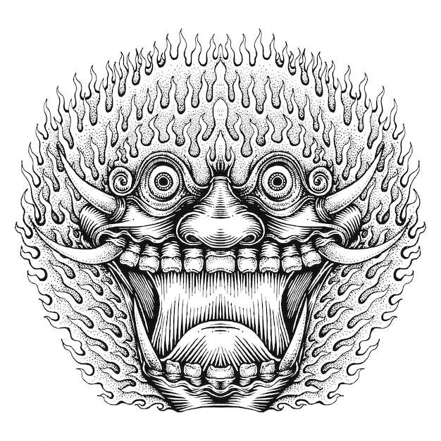 Masque de monstre effrayant Vecteur Premium