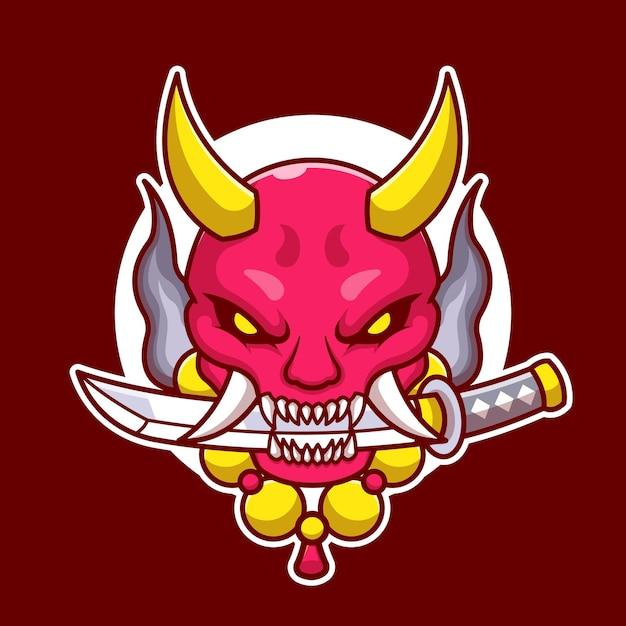 Masque Oni Avec Illustration De Dessin Animé D'épée. Vecteur Premium