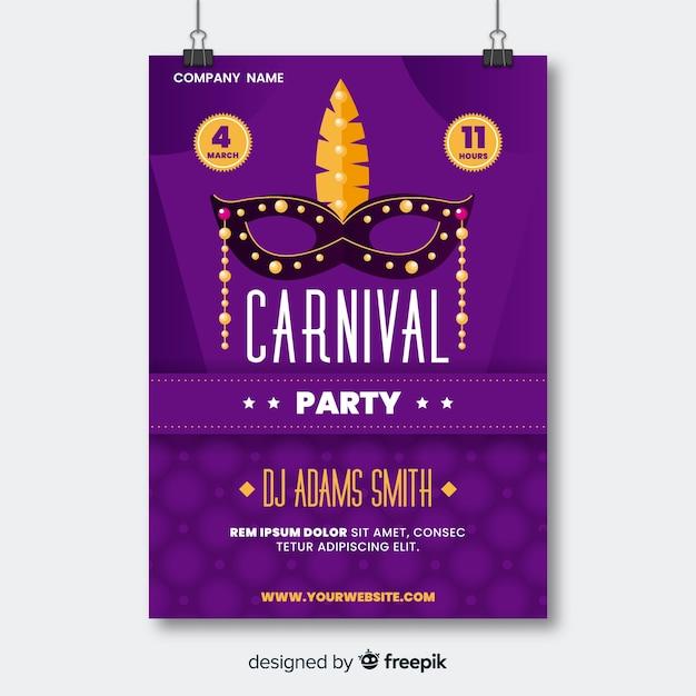 Masque avec des perles d'or affiche du parti de carnaval Vecteur gratuit