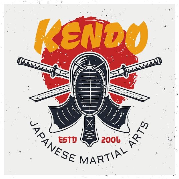 Masque De Protection Kendo Et Deux épées De Bambou Croisées, Modèle De Logo D'art Martial Japonais Traditionnel Sur Fond Avec Textures Grunge Vecteur Premium