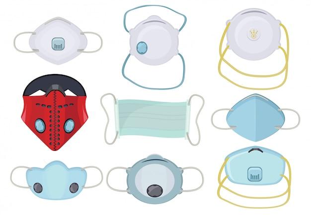Masque De Protection. Protection Respiratoire Médicale Visage Masqué Pollution De L'air Souffle Poussière Sécurité Travail Photos Vecteur Premium