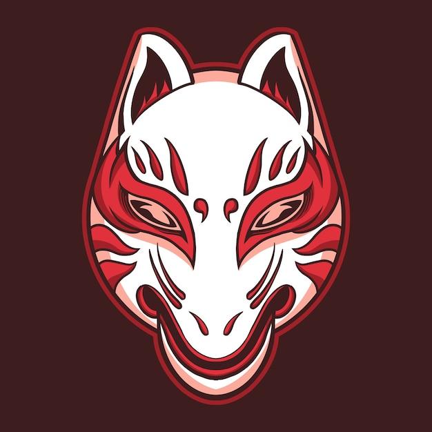 Masque De Renard Kitsune Vecteur Premium