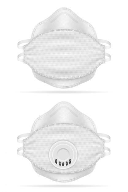 Masque Respiratoire Respiratoire Médical Pour La Protection Contre Les Maladies Et Les Infections Transmises Par Les Gouttelettes Aéroportées Vector Illustration Vecteur Premium