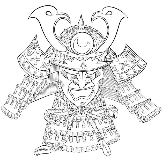 Masque samouraï japon. imprimé japonais avec masque de samouraï. Vecteur Premium