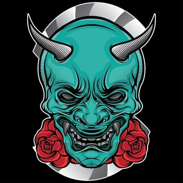 Masque de tatouage japon Vecteur Premium
