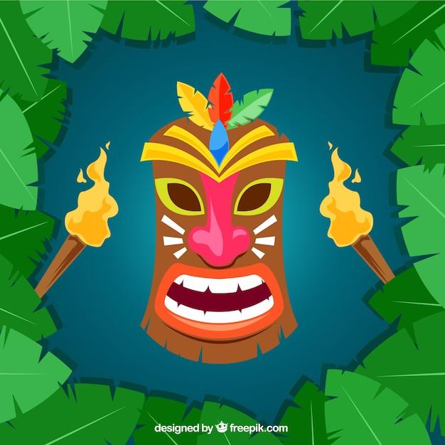 Masque tiki coloré avec des torches Vecteur gratuit