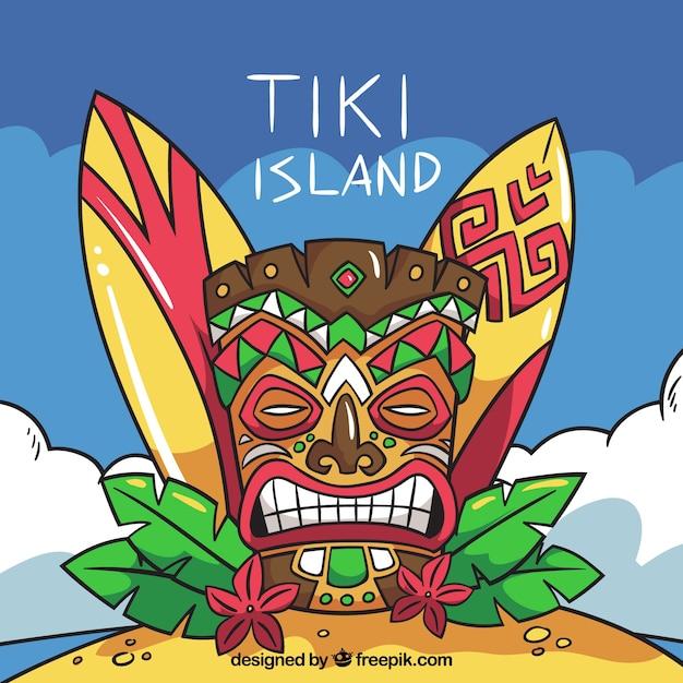 Masque tiki, panneaux de surf et feuilles de palmier Vecteur gratuit