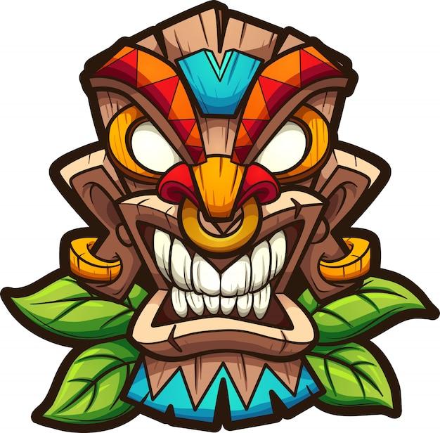 Masque tiki Vecteur Premium