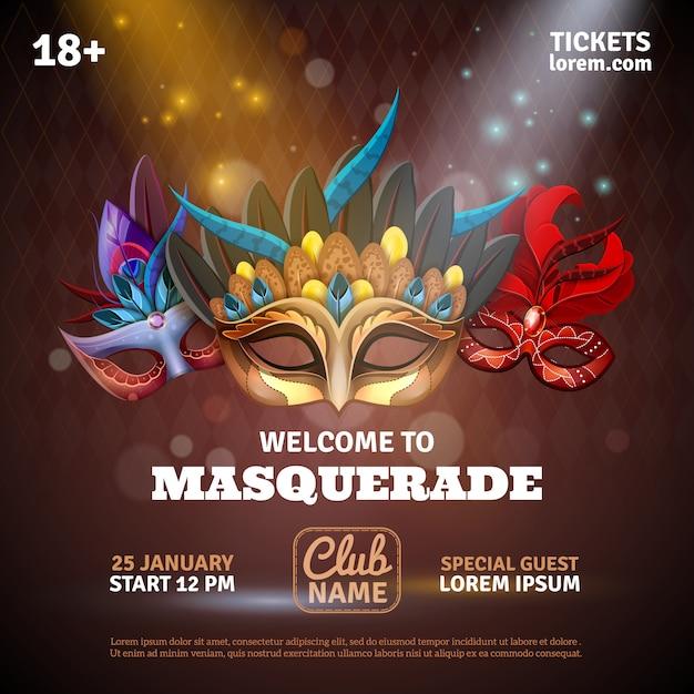 Masquerade affiche réaliste avec des billets de fête et des symboles de club Vecteur gratuit
