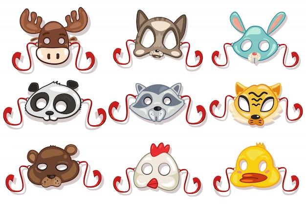 Masques Animaux Prêts Pour La Fête. Isolé Vecteur Premium