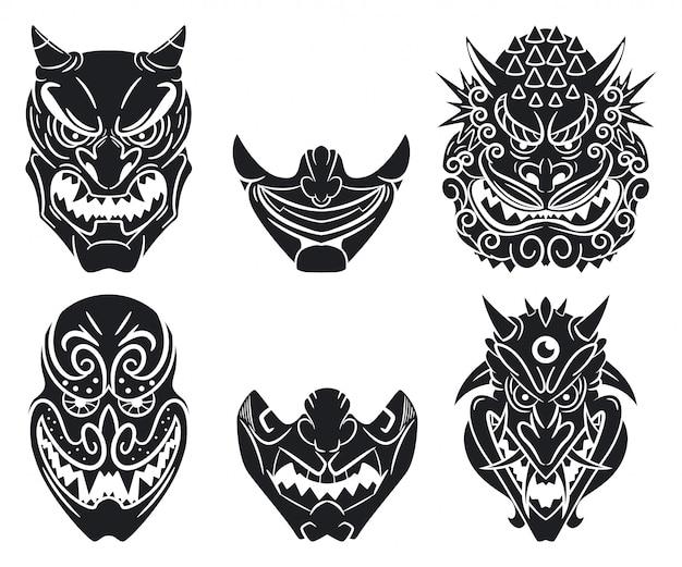 Masques Japonais Traditionnels Oni Et Kabuki Avec Visage De Démon. Ensemble De Dessin Animé Isolé Sur Un Blanc Vecteur Premium