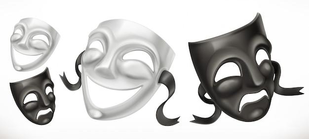 Masques De Théâtre. Icône 3d De Comédie Et De Tragédie Vecteur Premium