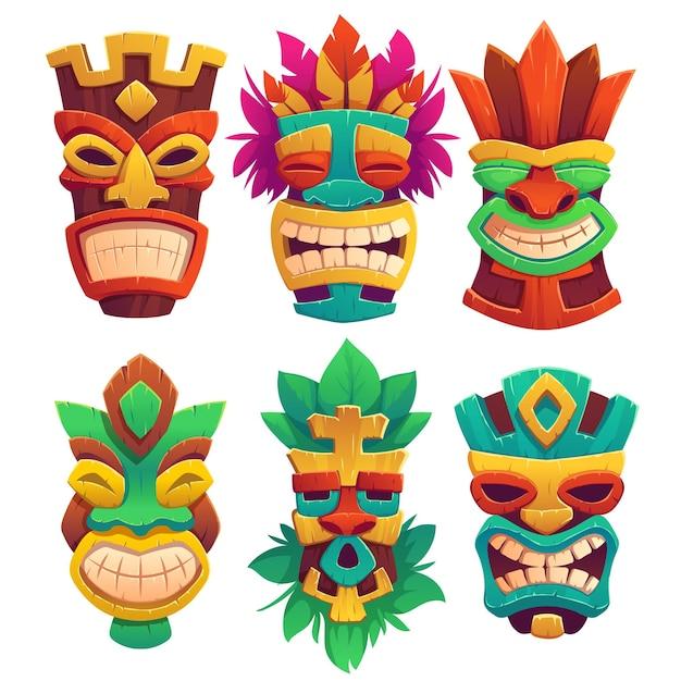 Masques Tiki, Totems En Bois Tribaux, Attributs De Style Hawaïen Ou Polynésien, Visages Effrayants Avec Bouche à Pleines Dents Vecteur gratuit