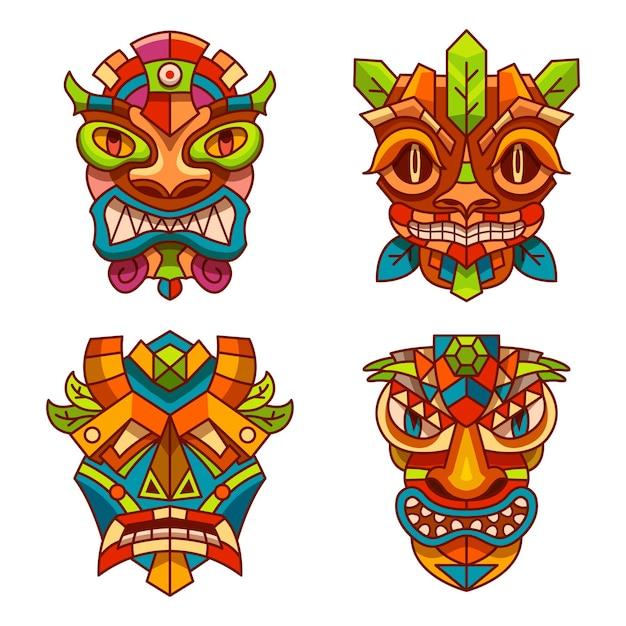 Masques Totémiques Avec Ornement Décoration Tribale Des Indiens Tiki, Hawaï Ou Aztèque Et Maya Vecteur Premium