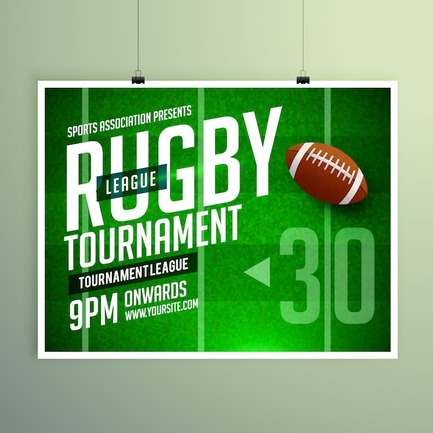 match de rugby affiche event flyer template vecteur de conception Vecteur gratuit