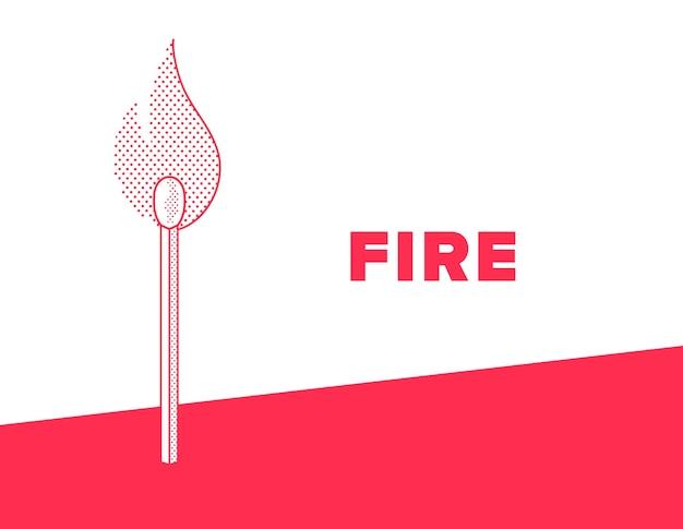 Match Enflammé. Tenez-vous-en Au Style Pointillé De Feu. Illustration Vectorielle De Couleur Rouge Et Blanc. Vecteur Premium