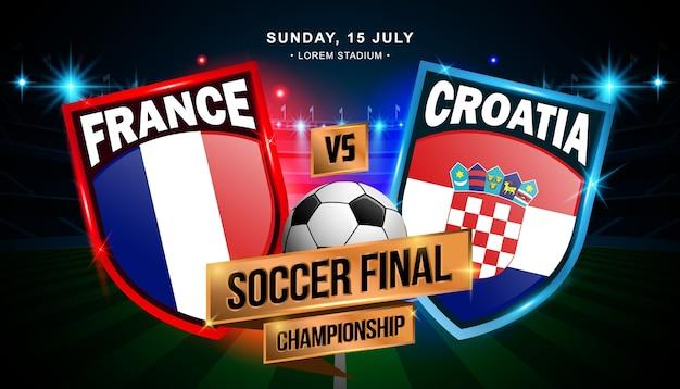 Match final de football entre la france et la croatie Vecteur Premium