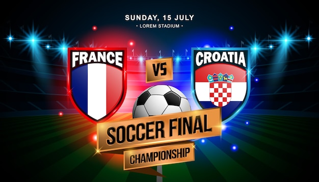Match final de football entre la france et la croatie Vecteur Premium