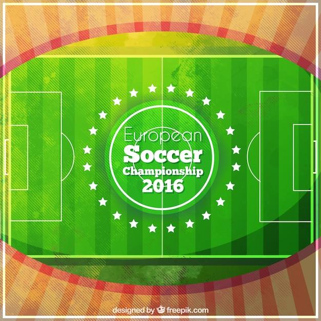 Match de football de fond d'aquarelle du championnat de football européen Vecteur gratuit