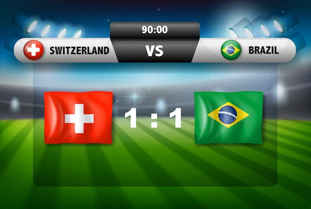 Match de football suisse vs brésil Vecteur Premium
