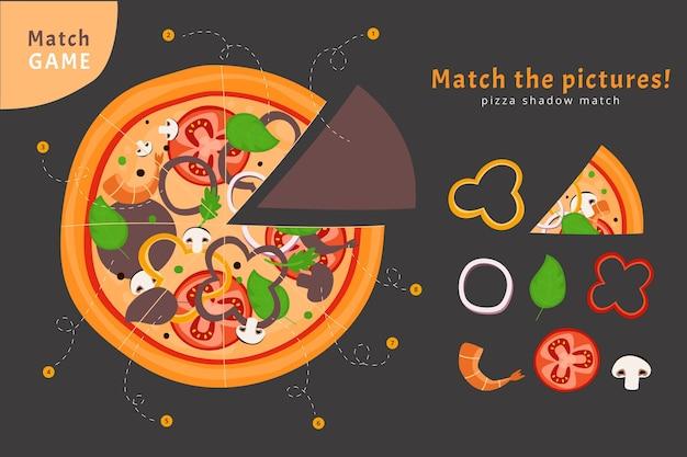Match De Jeu Avec Des Ingrédients De Pizza Vecteur gratuit