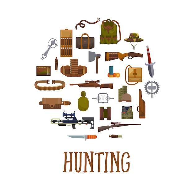 Matériel de chasse et accessoires de chasseur. Vecteur Premium