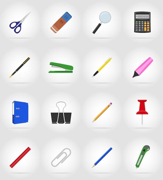 Matériel de papeterie mis à plat icônes illustration vectorielle Vecteur Premium