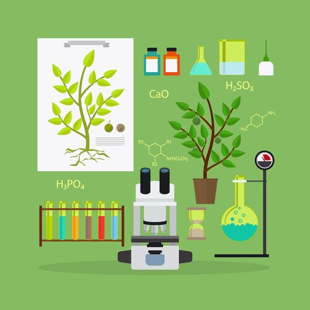 Matériel de recherche en biologie Vecteur Premium