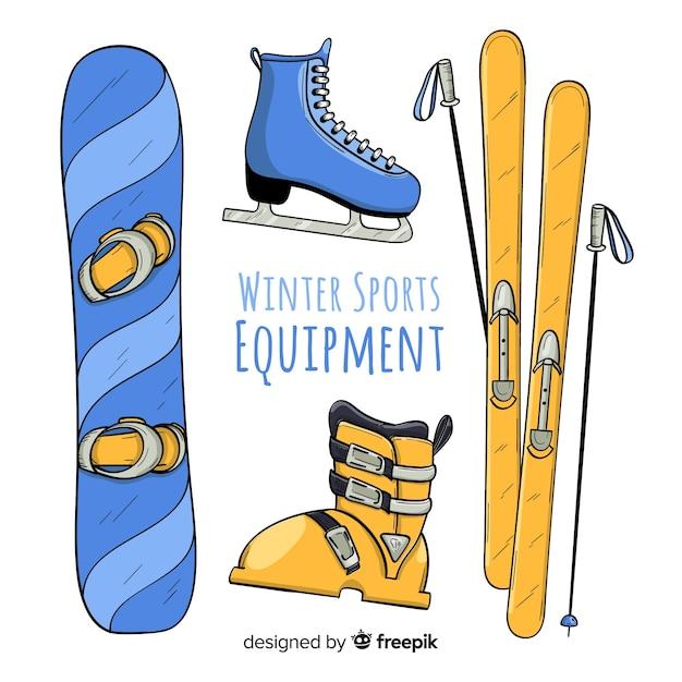 Matériel de sport d'hiver dessiné à la main Vecteur gratuit