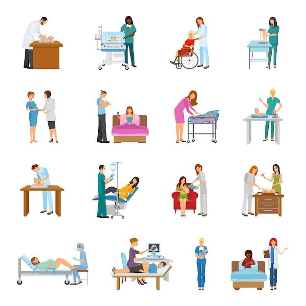 Maternity hospital nursery set Vecteur gratuit
