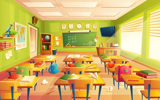 Maths intérieur de la salle de classe Vecteur Premium