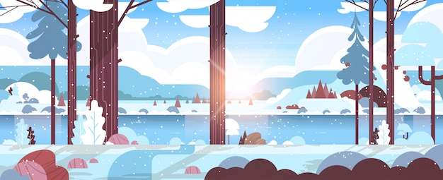 Matin D'hiver Froid Rivière De Montagne Dans La Forêt Enneigée Lever Du Soleil Paysage Nature Fond Horizontal Vecteur Premium