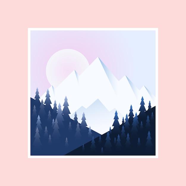 Matin en montagne. illustration vectorielle Vecteur Premium