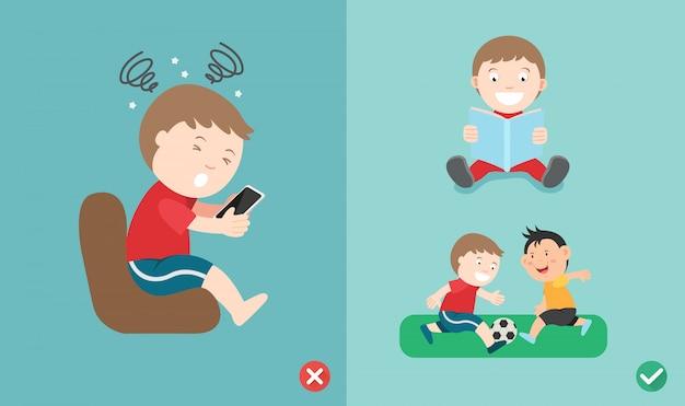 Mauvaise et bonne façon pour les enfants d'arrêter d'utiliser un smartphone Vecteur Premium
