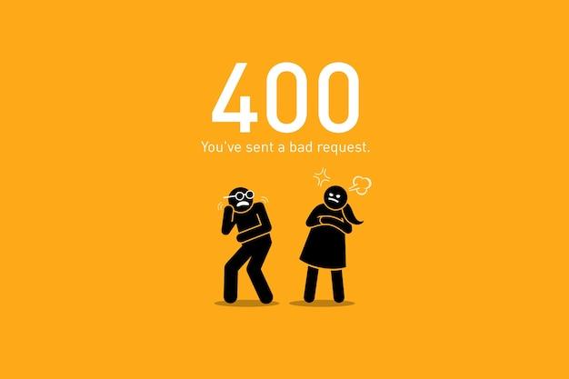 Mauvaise Demande. Les Illustrations Vectorielles Représentent Un Scénario Drôle Et Humoristique Avec Un Chiffre De Bâton Humain Pour Une Erreur De Demande De Site Web Http. Vecteur Premium